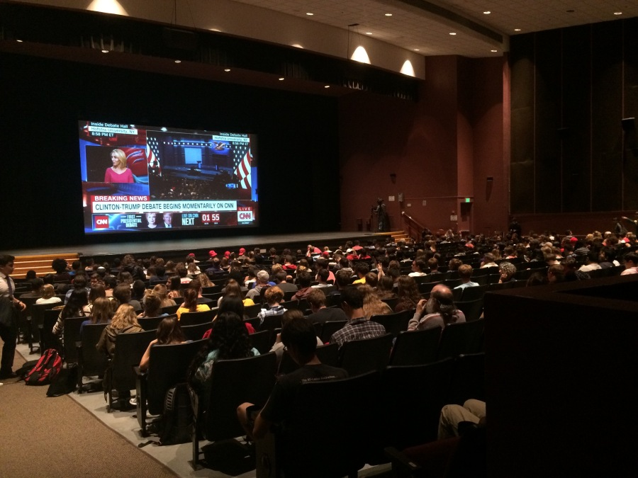 Students fill Hoff Theater in the Adele H. Stamp Student Union minutes before the first presidential debate was to begin.
