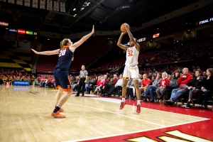 Shatori Walker-Kimbrough shoots a three point shot in Maryland's 84-59 win over Illinois. Photo by: Evan L. Kramer