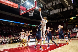 Forward Kiah Gillespie attempts a lay-up in Maryland's 84-59 win over Illinois. Photo by: Evan L. Kramer