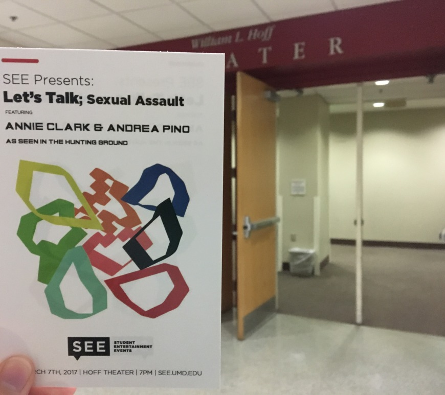 Let's Talk; Sexual Assault flyer outside Hoff Theater.