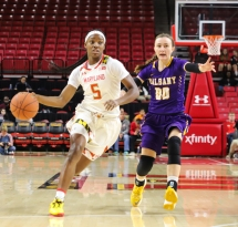Sophomore guard Kaila Charles drives toward the basket in Maryland's 91-58 win over the Albany Great Danes on Friday, Nov. 10.