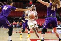 Sophomore guard Kaila Charles drives toward the basket.