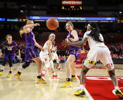 The Maryland women's basketball team opened its 2017-2018 season with a convincing win over the Albany Great Danes on Friday, Nov. 10.