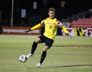 Junior midfielder Amar Sejdic controls the ball for the Terps against Albany.