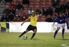 Senior midfielder Jake Rozhansky fires a shot at goal against Albany.