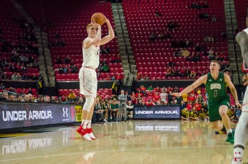 Sophomore Kevin Huerter finished tonights game as the highest scoring player with 17 points.