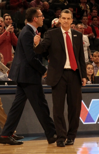 Head Coach Mark Turgeon celebrates after Maryland ties the game.
