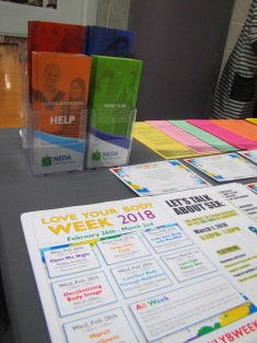 Table of giveaways and information sheets at ERC.