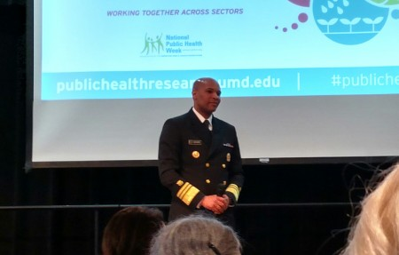Surgeon General Jerome Adams speaking in the Stamp Colony Ballroom